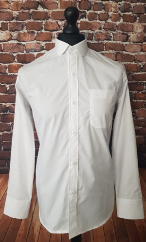 """Nathan"" White Long Sleeve Penny Collar Shirt"